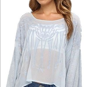 💫🦋 Free People Embroidered Blouse Top XS 🦋💫